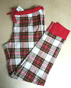 NWT HANNA ANDERSSON WOMEN'S RED FAMILY PLAID PAJAMA PANTS L XL XXL