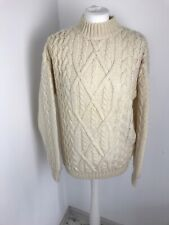 St Michael Vintage Ivory Cream Chunky Cable Knit Wool Jumper Sweater 10