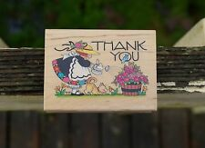 Thank You Flowers Mary Engelbreit All Night Media Wood Mounted Rubber Stamp 581H
