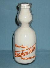 Vintage 1 Quart Meadow Gold Silver Seal Milk Bottle