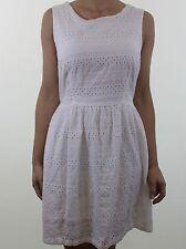 New Look Bordado Floral Blanco En Encaje espagnol Imperio Té Vestido Talla 14 EU 42
