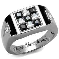 HCJ MEN'S RING - STAINLESS STEEL WITH PRINCESS CUT BLACK & WHITE CZ RING SIZE 11