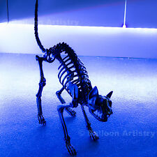 Gothic Black Bones Halloween Poseable Jointed Kitty Cat Skeleton Prop Decoration