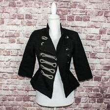 BALMAIN Paris Women's Cropped Double Breast Tweed Military Jacket Size Small