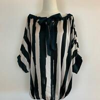 Sisley Womens Black Beige Striped Tie Boat Neck Blouse Top Size L A11-08
