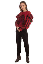 RRP €510 RED VALENTINO Jumper Size S Cashmere Angora & Wool Blend Ruffle Striped