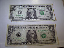 CONSECUTIVE US ONE DOLLAR FEDERAL RESERVE NOTES 2 BILLS 1999 L 20998689-90 S