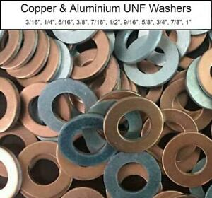 "Copper & Aluminium UNF Washers - 3/16"" to 1"" Imperial Industrial & Home DIY Use"