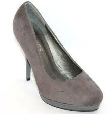 SAINTS UK Designer Grey Suede Leather Classic Heels Size 8 NEW