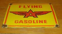 "VINTAGE FLYING A GASOLINE W/ WINGS 12"" X 10"" PORCELAIN METAL OIL SIGN PUMP PLATE"