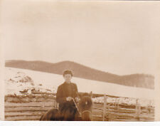 1962 Handsome young man rides horse mountains winter old Russian Soviet photo