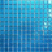 Paillettes Bleu verre salle de bain cuisine douche splashbacks Mosaic Tile Feuille MT0008