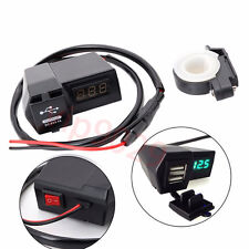 DC 24V USB Motorcycle GPS Cell Phone Power Socket Charger+ LED Voltage Voltmeter
