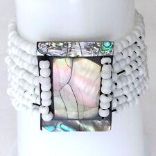 Abalone Shell Bracelet Elástico. arco Iris Marco De Concha De Perla Con Cuentas Blancas