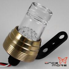 GOLD Brass round Shot glass LED taillight FOR BOBBER CAFE RACER