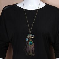 EG _ Damen Charm Pfauenfeder lange Kette Anhänger Vintage Pullover Halskette ÜEi