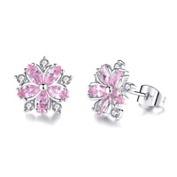 Women White Gold Filled Pink Cherry Blossoms Flower Crystal CZ Stud Earring