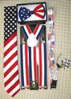 US Flag American Flag Suspenders,Lanyard,Tie &US Patriotic Flag Adj. Bow Tie-V2
