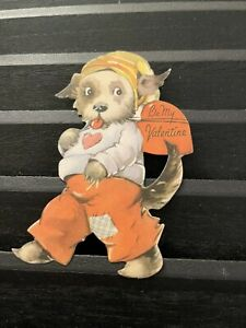 Vintage Greeting Card Valentine Hobo Dog Patches Hat