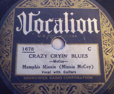 CRAZY CRYIN' BLUES Memphis Minnie 78 Queen of Blues Seminal Record Vocalion 1678