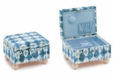 HobbyGift Footstool Sewing Box Ikat Blue/White Craft Box Storage Gift HGELS303