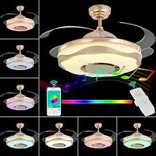 """36""""Invisible Led Ceiling Fan Light Remote Chandelier /Bluetooth Speaker Fan Lamp"""