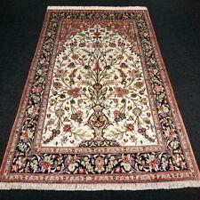 Orient Teppich Ghom 160 x 100 cm Seidenteppich Perserteppich Beige Handgeknüpft