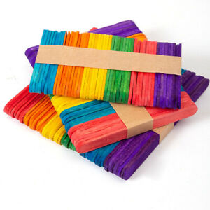 50pcs Natural/colorful Ice Cream Sticks Popsicle Stick Kids Crafts DIY