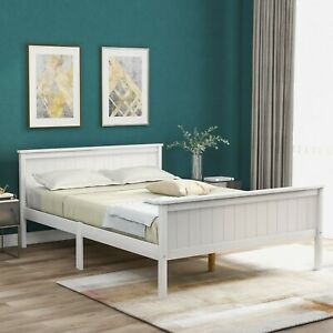 double wooden Bed Frame with Headboard and Footboard Pine Wood 135 x 900 cm