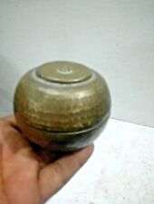 Vintage Old Brass Engraved Handcrafted Round Small Jewellery / Bread BoX