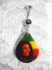 NEW BOB MARLEY SMILING PHOTO STRIPED RASTA COLORS ON BLACK CZ BELLY BUTTON RING