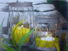 Glas Windlicht 16392  Deko Metall Kerze Teelicht  Tischdeko Antik Shabby Vintage