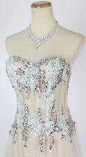 NEW $500 Jovani Sweetheart Corseted Dress Aqua Prom Formal High Low Size 0 Long