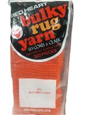 Red Heart Bulky Rug Yarn 605 Autumn Flame 4 unopened Packages Coats and Clark