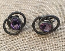 vintage sterling silver and amethyst screw back earrings