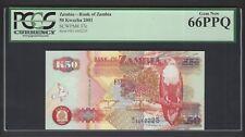 Zambia 50 Kwacha 2001 P37c Uncirculated Graded 66