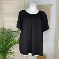 Old Navy Women's Wide Short Sleeve Keyhole Back Black Flowy Blouse Size XL