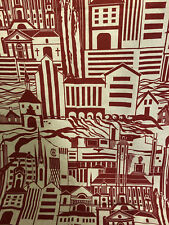 Ljungbergs Swedish Textiles Graphic Churches Buildings 100% Linen Fabric 1yd+