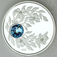 2012 $3 March Birthstone Aquamarine Pure Silver Proof Coin, Swarovski Crystal