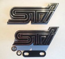 WRX STI BOOT & FRONT GRILL BADGE SET BADGE X2 BLACK AND CHROME