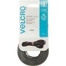 Velcro 90924 50-Pc. 1/2 in. x 8 in. 1-Wrap Hook & Loop Ties (Black/Gray) New