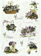 Rice Paper -Vintage Roses Violet- for Decoupage, Scrapbook Sheet, Craft