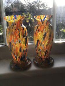 A PAIR Antique Art Deco Czech Vases Orange Spatter Glass Enamelled Welz Kralik?