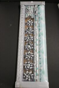 3 Roll Wrap7 Bow 8 Gift Tag Variety Pack Holiday Christmas Wrapping Gift silver