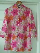 Folio Saks Fifth Avenue  Print 100% Silk Button Down Blouse Floral radiant color