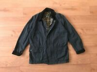 Barbour Men's Ashby Blue Waxed Coat Jacket 52 42 L Large Casual