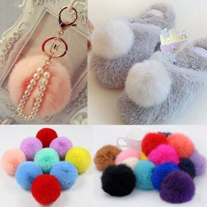 1Pcs 8cm Pompom Rabbit Fur Ball Faux Fur Bag Pendant Key Chain Fluffy Pom Ball