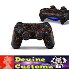 Devine customz PS4 playstation controller Black red stars space sticker set
