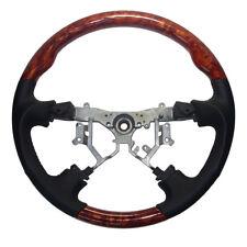 Black Leather Wood Steering Wheel for 03-06 Toyota Sequoia Tundra Prado SPORTS