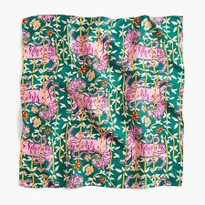 DRAKE'S x J.CREW Green Pink Cat Bengal Tiger Print 100% Silk Scarf NIB